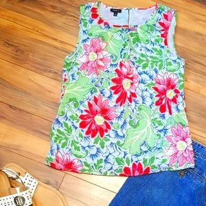 Talbots Hibiscus floral summer Tank top